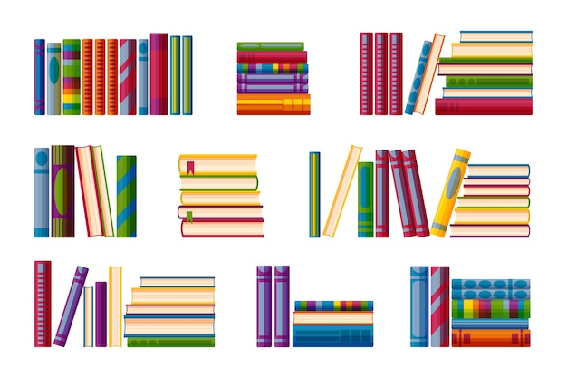 Shelves with book piles big set for bookstore shelves in cartoon style