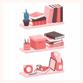 책 및 기타 가정 용품이 있는 선반 홈 라이브러리