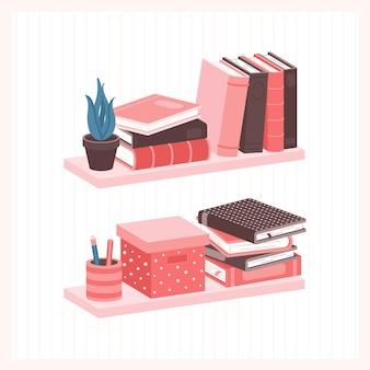 本やその他の家庭用品が置かれた棚学生室