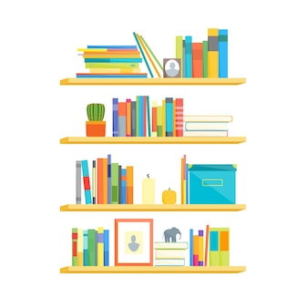 Shelves with colorful books on flat design style