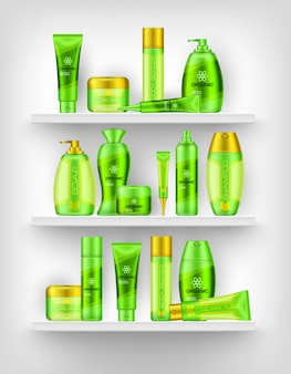 Shelves with cosmetics 3d design