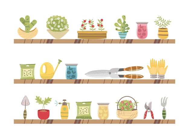 원예 도구 식물 꽃 일러스트와 함께 선반