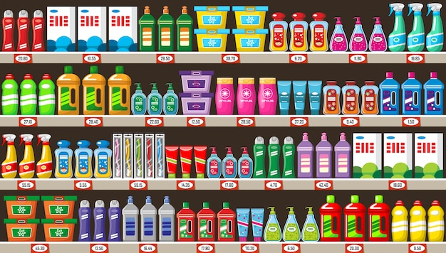 Shelves with household chemicals in shop