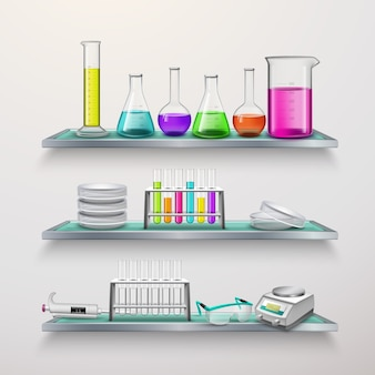 Shelves with lab equipment composition