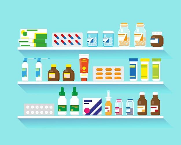 파란색 배경에 약물이 있는 선반 3개의 선반에 있는 다양한 종류의 약물