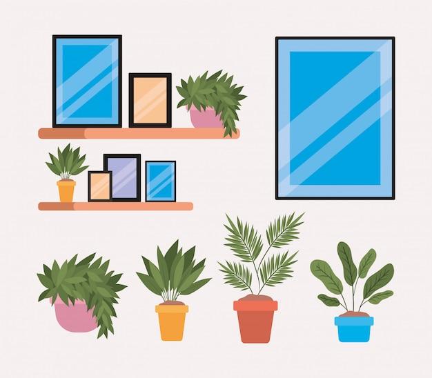 鉢やフレームの中に植物が入った棚