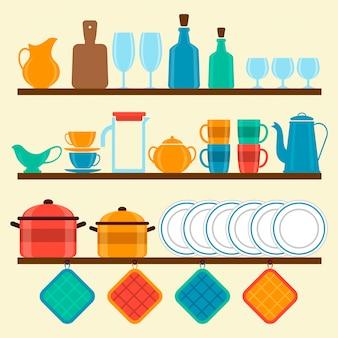 Полки с посудой
