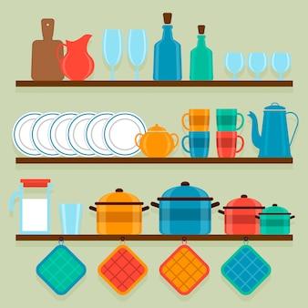 Shelves with utensils