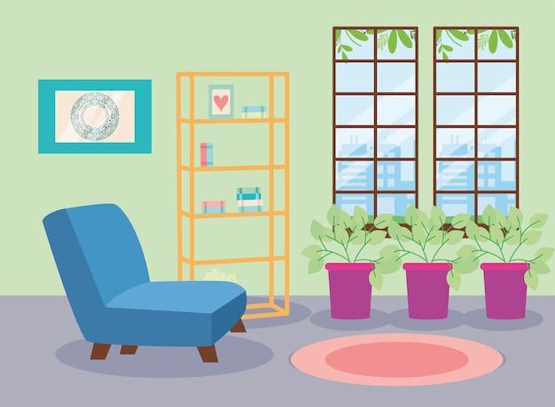 Shelving and houseplants living scene