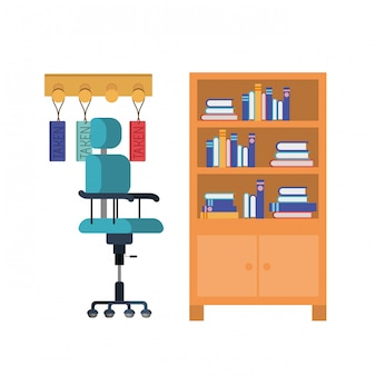 Shelving with books on white