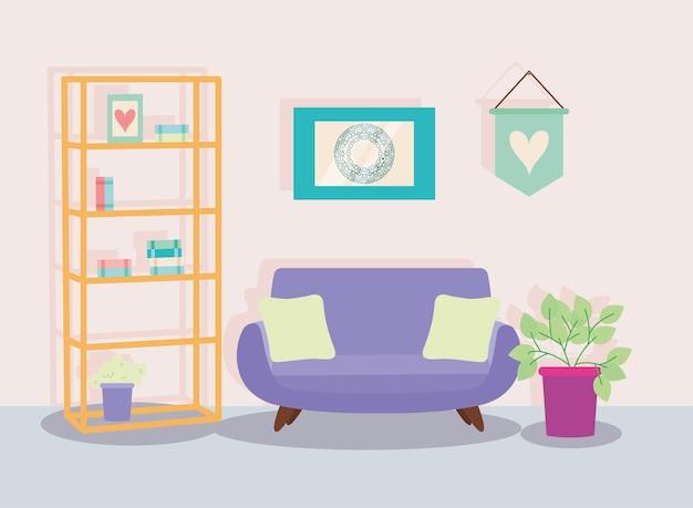 木製の棚とソファのシーン