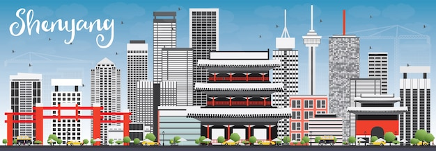 Shenyang skyline with gray buildings and blue sky. vector illustration.