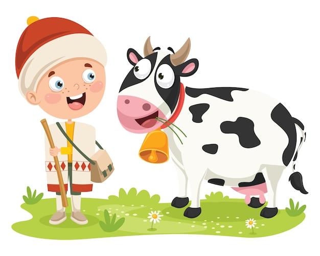 Shepherd kid feeding his cow