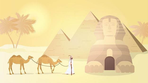 The shepherd leads camels through the desert. egyptian pyramids, sphinx.