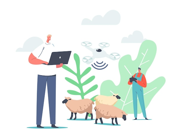 Shepherd male character use quadcopter and rfid, radio frequency identification tag technology for grazing sheep. innovative contemporary business technologies. cartoon people vector illustration