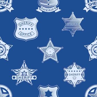 保安官バッジのシームレスなパターン。