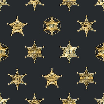 Sheriff badges seamless pattern