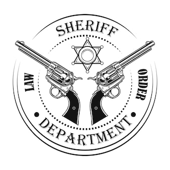 Sheriff department emblem vector illustration. guns and text, circular stamp