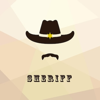 Sheriff face icon isolated on multicolor background