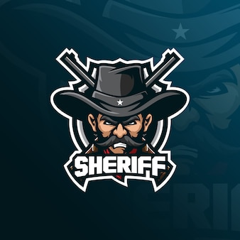 Sheriff mascot logo design with modern illustration concept style for badge, emblem and tshirt printing.