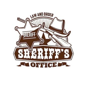 Значок офиса шерифа, маршал или ретро эмблема законника дикого запада. вектор ковбой или родео шляпа, значок звезды шерифа соединенных штатов америки и старый винтовочный пистолет. винтаж значок правоохранительного агентства сша