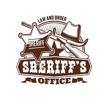 Sheriff office icon, marshal or wild west lawman retro emblem. vector cowboy or rodeo hat, united states of america sheriff star badge and old rifle gun. usa law enforcement agency vintage icon