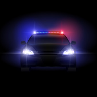 Sheriff police car at night with flashing light illustration.