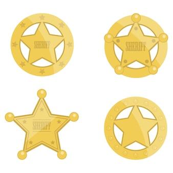 Sheriff star badges set design illustration isolated on white background