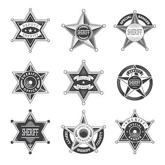 Значки звезд шерифа. западная звезда техаса и рейнджерс щиты или логотипы винтажные картинки