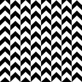 黒と白の色でモノクロのシェブロンシームレスパターン。ファッションフラットイラストでエレガントなジグザグの幾何学的形状。壁紙、テキスタイル、ラッピングの抽象的なテクスチャデザイン