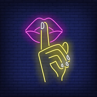 Shh gesture neon sign