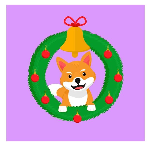 Шиба-ину рождественская собачка в плоском дизайне