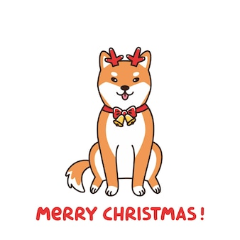 Shiba inu in the costume of a deer assistant santa claus