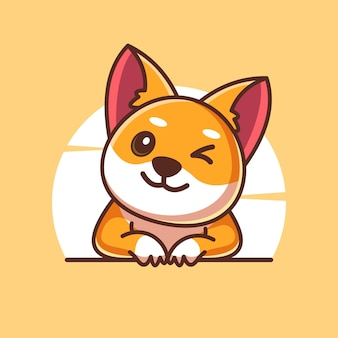 Shiba inu 귀여운 마스코트 캐릭터 일러스트 벡터 아이콘