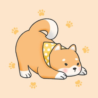Shiba inu dog cartoon hand drawn style
