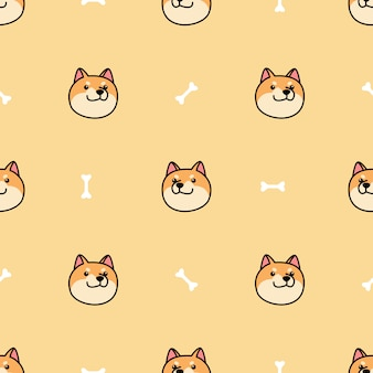 Shiba inu dog face cartoon seamless pattern