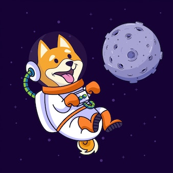 Shiba inu dog flying in the space
