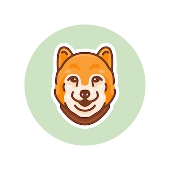 柴犬犬のマスコットイラスト、ロゴ、またはマスコットに最適