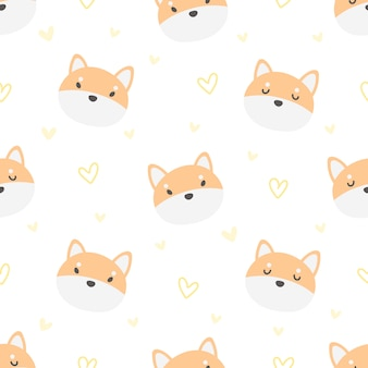 Shiba inu dog seamless pattern background