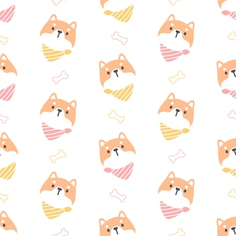 Shiba inu dog with collar seamless pattern background