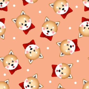 Shiba inu dog with red ribbon on orange background
