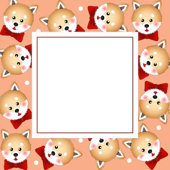 Shiba inu dog with red ribbon on orange banner card