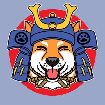 サムライヘルメットベクトルイラストと柴犬犬