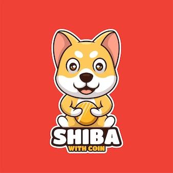 Шиба-ину дож сидит с монетой мультяшный креативный дизайн логотипа