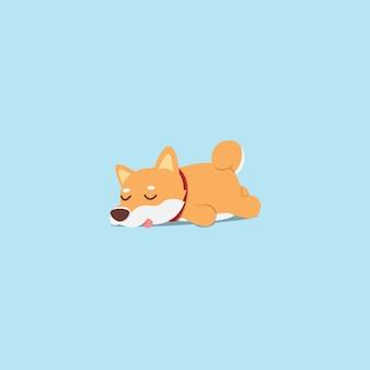 Ленивый shiba inu щенок спящий плоский дизайн иконок