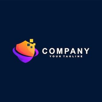 Shield abstract gradient logo design