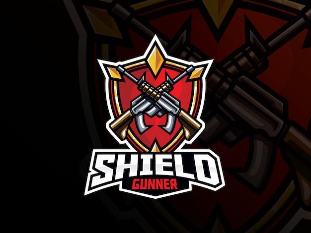 盾と銃のスポーツのロゴデザイン
