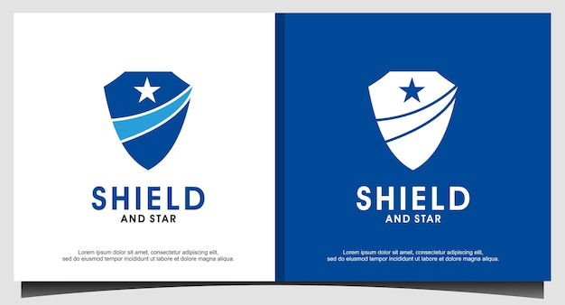 방패와 별 상징 로고 디자인