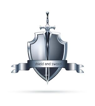 盾と剣のロゴデザイン。ベクトルアイコン