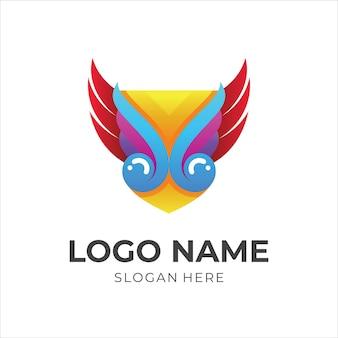 Щит и крылья дизайн логотипа вектор, простой стиль 3d